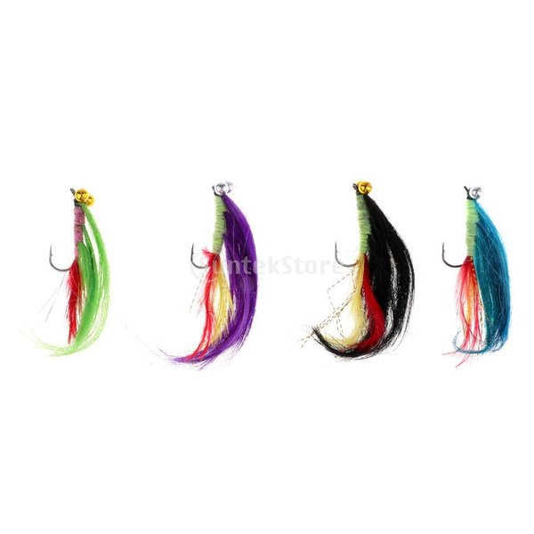 Fenteer 現実的 自然の昆虫 釣りルアー 人工餌 人工フェザー 長い尾 色合い 4本