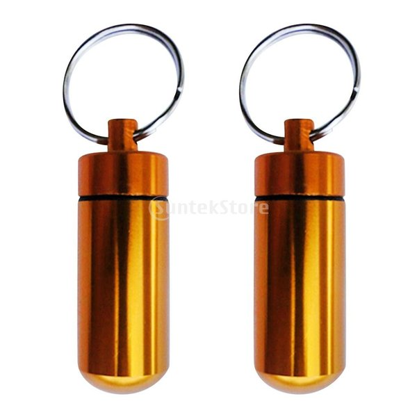 ノーブランド品  全3色 2個 防水 気密性 ピルボックス 錠剤ケース カプセル ホルダー キーリング キーチェーン - ゴールド