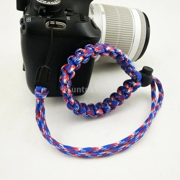 SunniMix ナイロン 編組 パラコード 調節可能 カメラ リストストラップ ブレスレット 全8スタイル - タイプ6