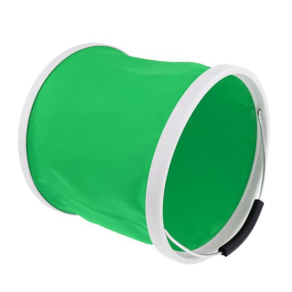 キャンプ用BBQ釣り9L緑のための折りたたみバケツの水の容器の缶