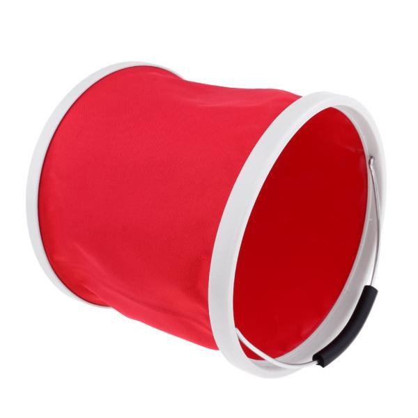 折りたたみバケツの水の容器のキャンプキャンプ用BBQ釣り9L赤