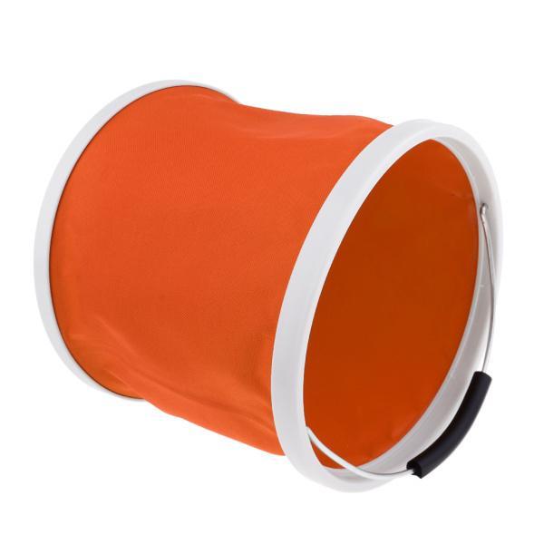 折りたたみバケツ水容器キャンプキャンプ用BBQ釣り9Lオレンジ