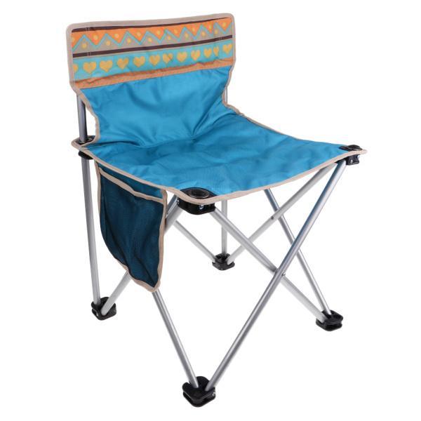 折りたたみキャンプクワッドチェア軽量ポータブルピクニック釣りシートブルー