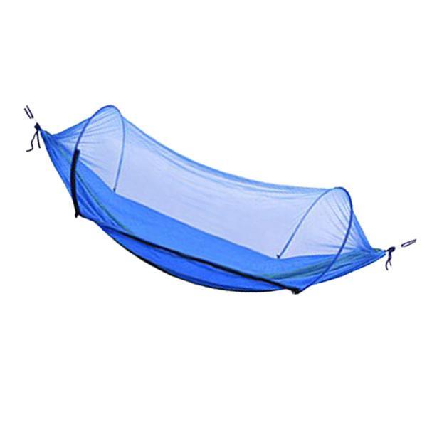 屋外キャンプ用ハンモックボートの形をしたベッドで、刺され防止ネットロイヤルブルー