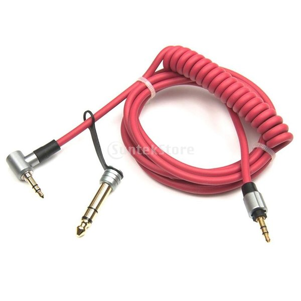 Fenteer ビートdr Dre PRO DETOXヘッドフォンに対応 オーディオケーブル 交換コード 金メッキ コネクター 全2色 - 赤