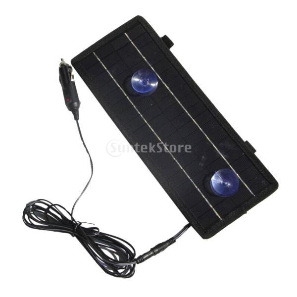 12Vソーラーパネルカーバッテリー充電器4.5Wカーライターワニ口クリップケーブル