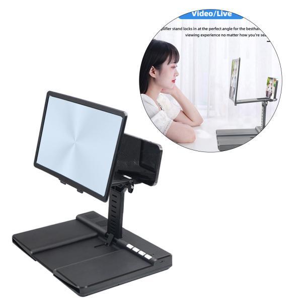 スマートフォン用12インチスクリーン拡大鏡映画用3D拡大鏡プロジェクタースクリーンビデオゲームテレスコピック電話スタンド(Bluetooth