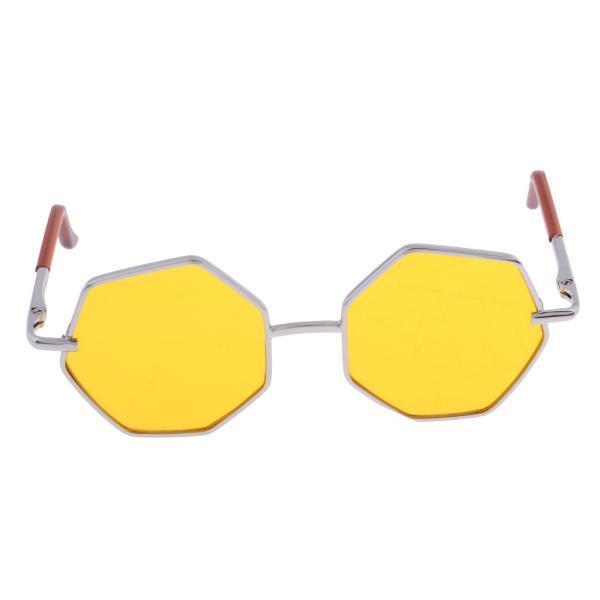 20-25cm BJD SDドール人形のため 六角形眼鏡 サングラス メガネ 人形アクセサリー 7カラー - イエロー
