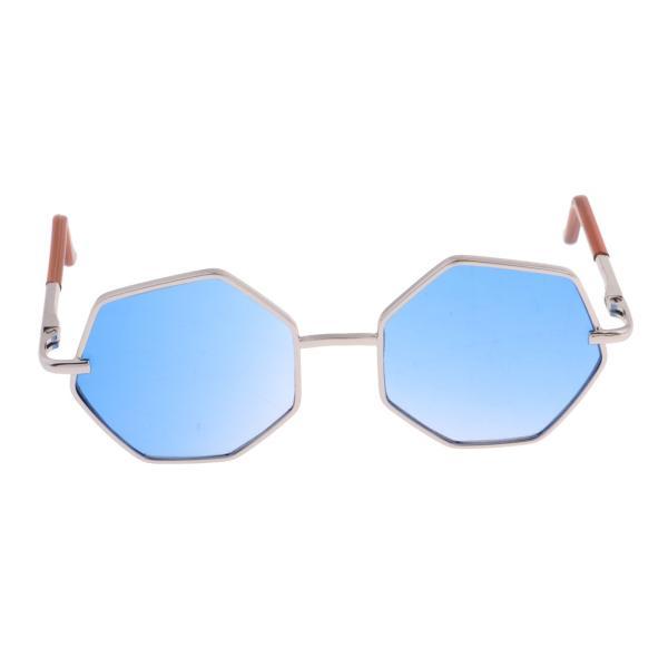20-25cm BJD SDドール人形のため 六角形眼鏡 サングラス メガネ 人形アクセサリー 7カラー - ブルー