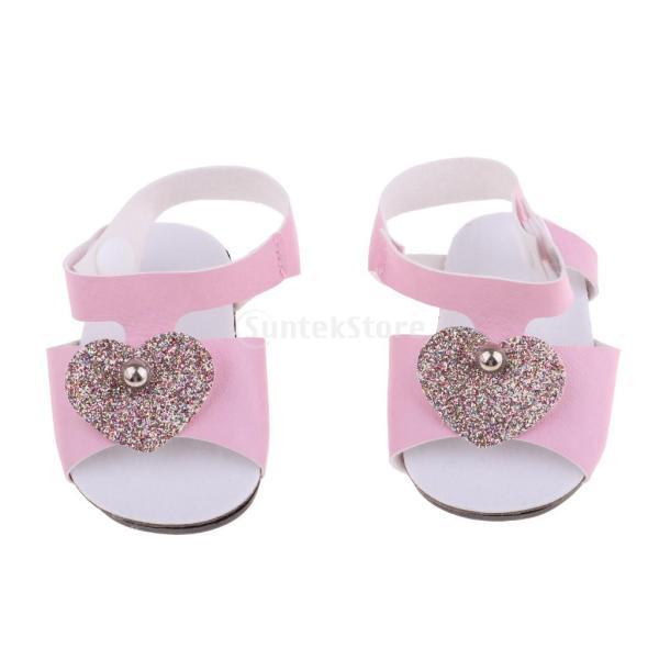18インチアメリカの女の子人形服 アクセサリーのため 手作り 足首ベルト サンダル 靴 シューズ 3色選択 - ピンク|stk-shop