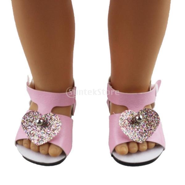 18インチアメリカの女の子人形服 アクセサリーのため 手作り 足首ベルト サンダル 靴 シューズ 3色選択 - ピンク|stk-shop|02