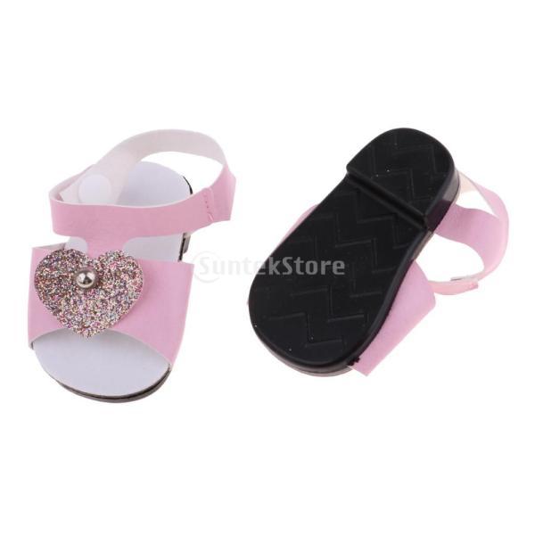 18インチアメリカの女の子人形服 アクセサリーのため 手作り 足首ベルト サンダル 靴 シューズ 3色選択 - ピンク|stk-shop|03