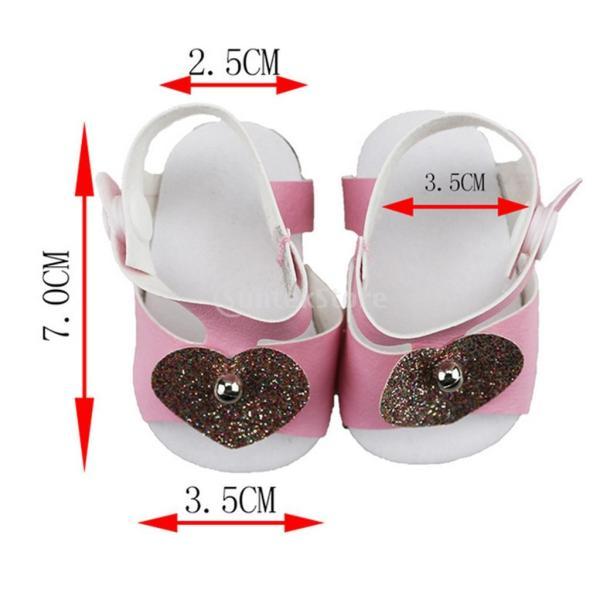 18インチアメリカの女の子人形服 アクセサリーのため 手作り 足首ベルト サンダル 靴 シューズ 3色選択 - ピンク|stk-shop|04