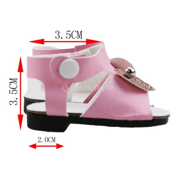 18インチアメリカの女の子人形服 アクセサリーのため 手作り 足首ベルト サンダル 靴 シューズ 3色選択 - ピンク|stk-shop|05