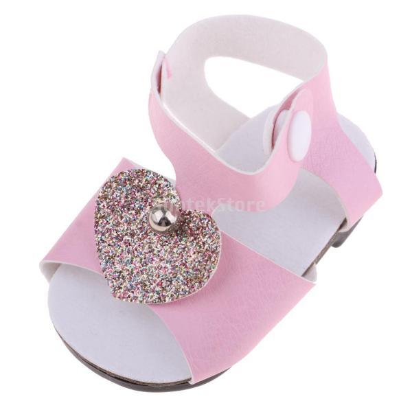 18インチアメリカの女の子人形服 アクセサリーのため 手作り 足首ベルト サンダル 靴 シューズ 3色選択 - ピンク|stk-shop|06