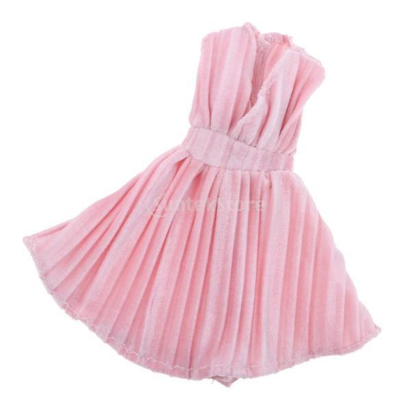 88b5c78267ac9 ... 人形服 ミニ V襟ドレス パーティードレス バービー人形アクセサリー ピンク|stk- ...