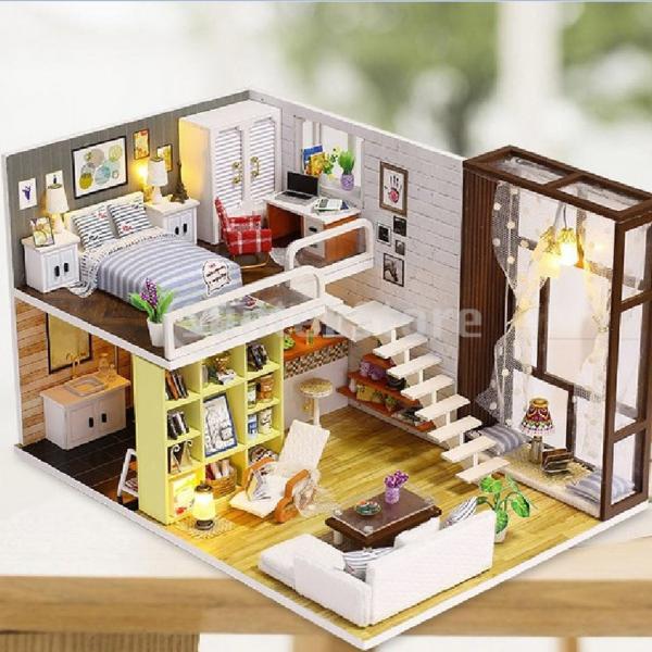 Perfeclan ドールハウス 3Dパズル ミニチュア DIY LEDライト オルゴール 建物キット 子供 おもちゃ