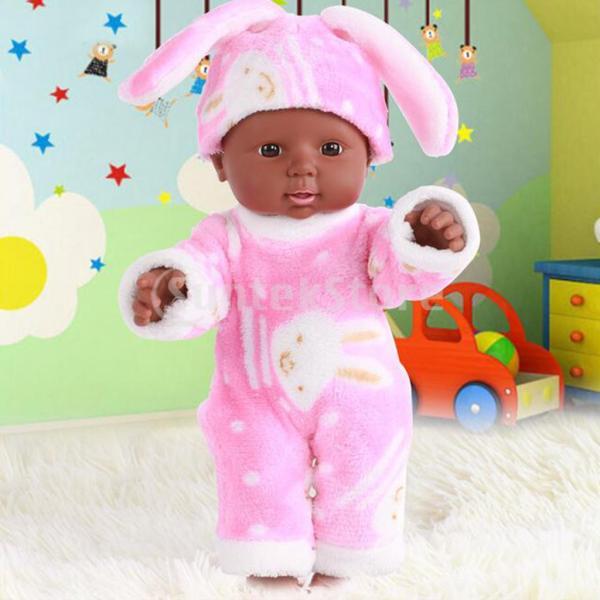赤ちゃん人形 アフリカ系リボーンドール 30cm新生児人形 衣装 工芸品 - ピンク