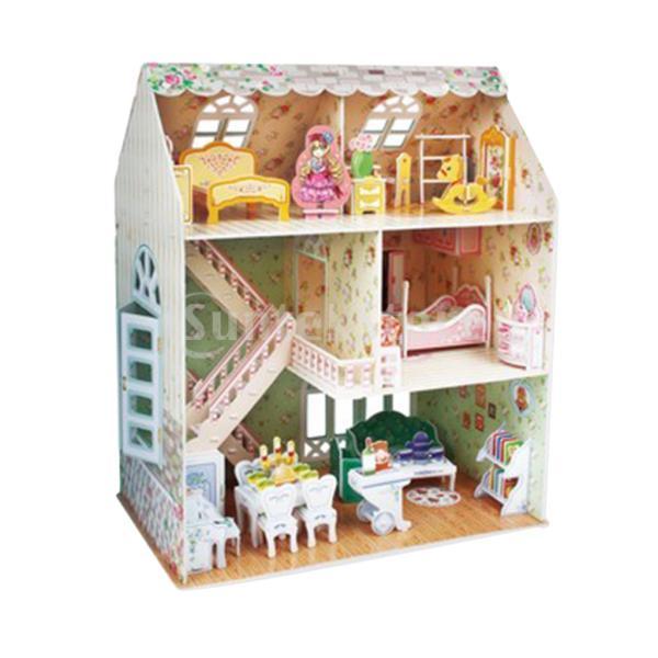 1/24ミニチュアドールハウス家具キット手作りミニヴィラの建物モデル