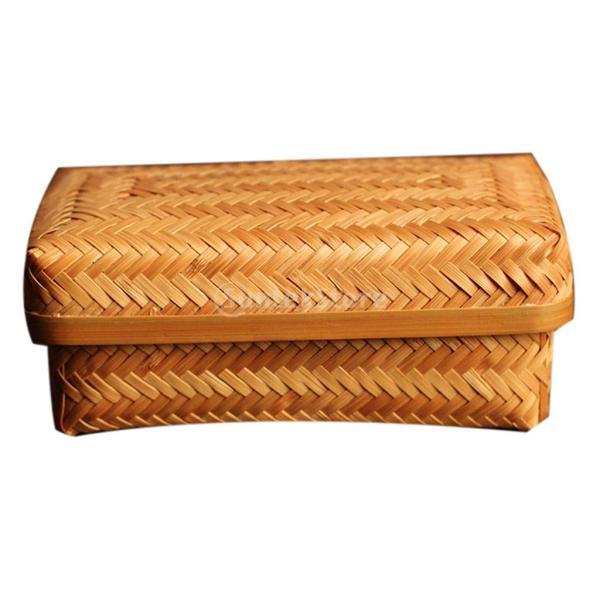 食べ物 果物 収納用 バスケット ボックス 自然竹製 蓋付き 新鮮保持 ピクニック BBQ 家庭