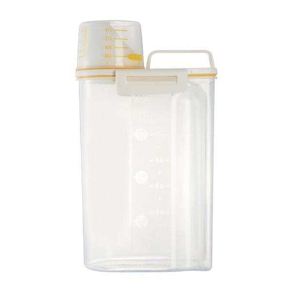 プラスチックシリアルディスペンサー収納ボックス食品穀物米容器2.5Lイエロー