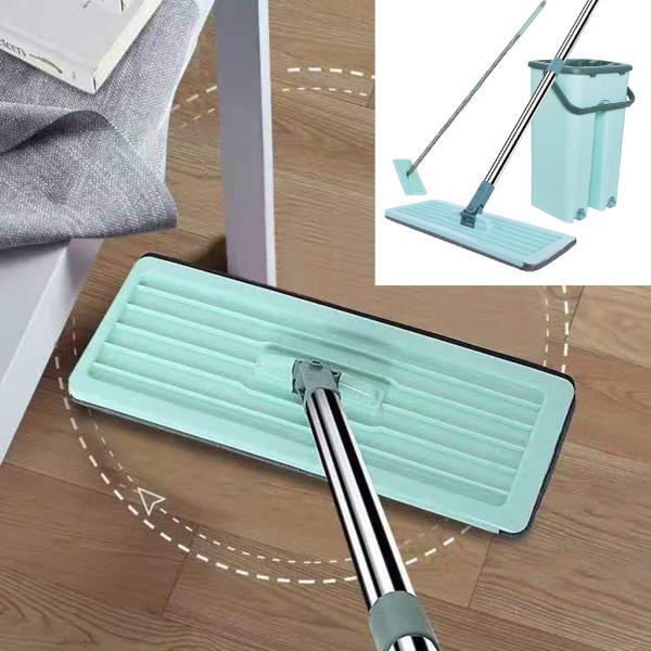 フラットフロアモップとバケツセット、汚れたきれいな水バケツ、ハンズフリーの家の床掃除、再利用可能なマイクロファイバーモップ布