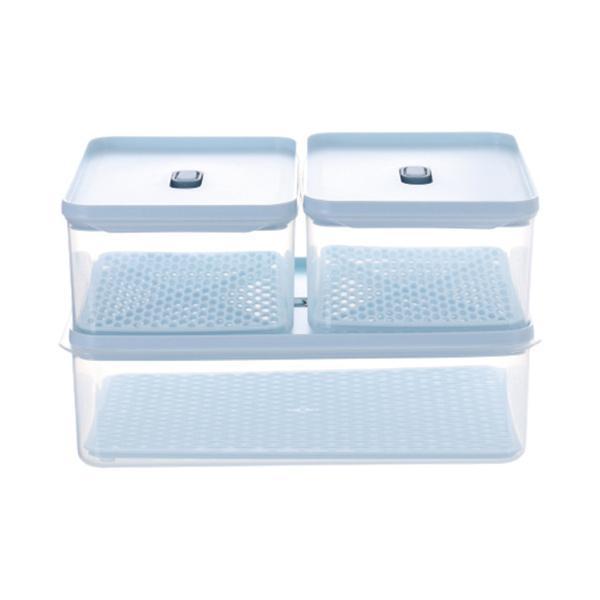 積み重ね可能な冷蔵庫食品容器冷凍庫ビン野菜収納3PCS