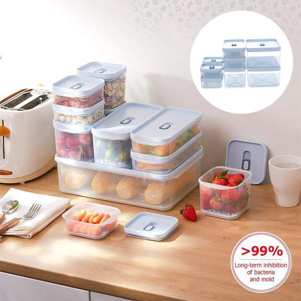 積み重ね可能な冷蔵庫食品容器冷凍庫ビン野菜貯蔵8PCS