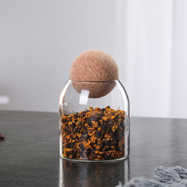 クリアコルクガラス瓶収納密閉ジャーキャンディーコーヒー豆ジャー500ml
