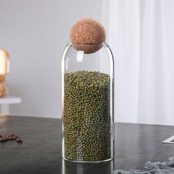 クリアコルクガラス瓶収納密閉ジャーキャンディーコーヒー豆ジャー1200ml