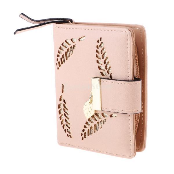 Baosity 二つ折り財布 コインケース レディース ミニ 中空葉 PUレザー 多機能 カード/写真/小銭入れ 便携 旅行 出勤 外出 全3色 - ベージュ