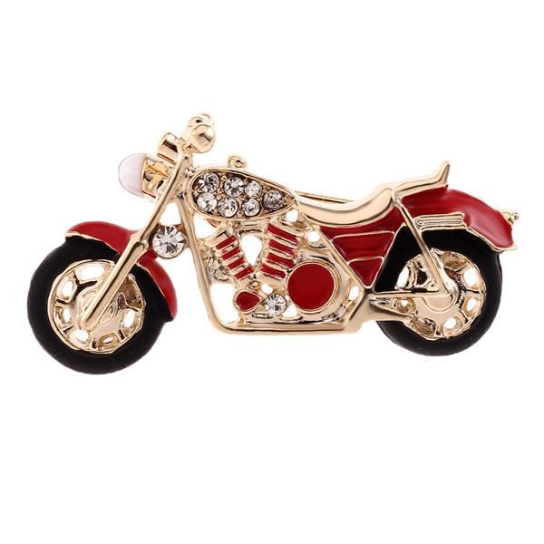 ファッション繊細なラインストーンエナメルのオートバイのブローチピン男性宝石赤