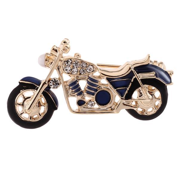 ファッション繊細なラインストーンエナメルオートバイのブローチピンの男性の宝石青