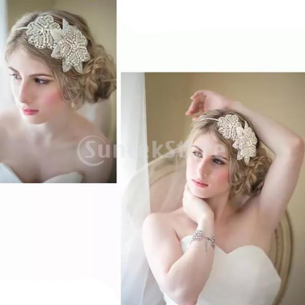 女性ギャツビー1920年代フラッパービーズヘッドバンド魅惑的な結婚式のブライダル装飾