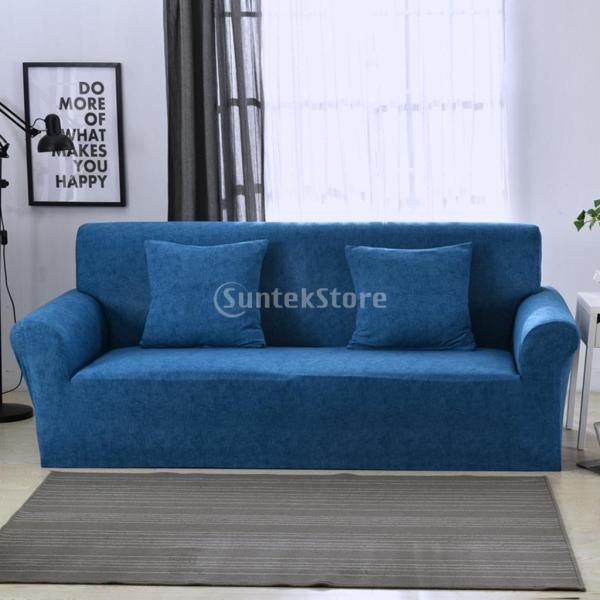 ソファーカバー 肘付き ストレッチ 洗濯可能 取り付け簡単 防汚防塵 通気性 全5色2サイズ1枚入り - ブルー, 3人掛け|stk-shop