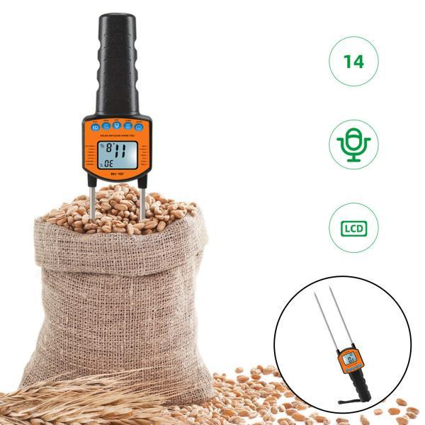 穀物水分計繊維水分計温度含水率テスターLCDディスプレイ米トウモロコシ用0-84%