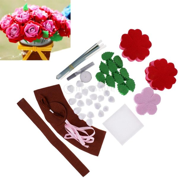手作りキットセット 縫製スターターセット フェルト 不織布 DIY 可愛い ローズ 花 stk-shop 02