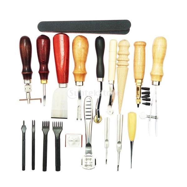 レザークラフト 革ツールキット 菱目打ち 革磨き 革細工 DIY道具 19個/セット|stk-shop|05