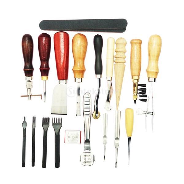 レザークラフト 革ツールキット 菱目打ち 革磨き 革細工 DIY道具 19個/セット|stk-shop|06