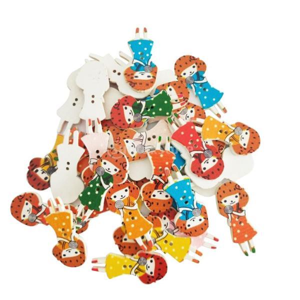 木製ボタン DIY 2穴 ガール形状 可愛い 多色 手芸用品 手作り 約30ピース