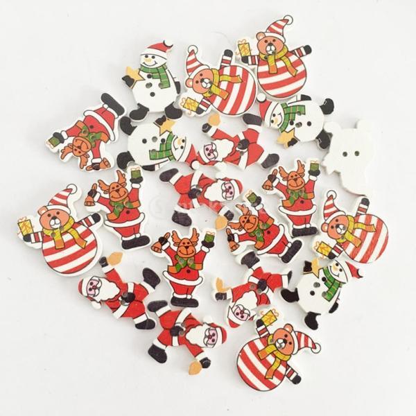 木製ボタン 2穴 クリスマス 可愛い 多色 手芸用品 手作り 約50ピース