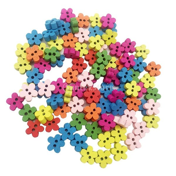 多色 ボタン 花形 2穴 木製 手芸用品 手作り 約100ピース
