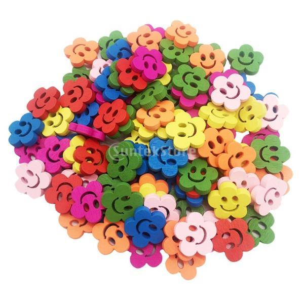 多色 ボタン 花 笑顔 2穴 木製 手芸用品 手作り 約100ピース
