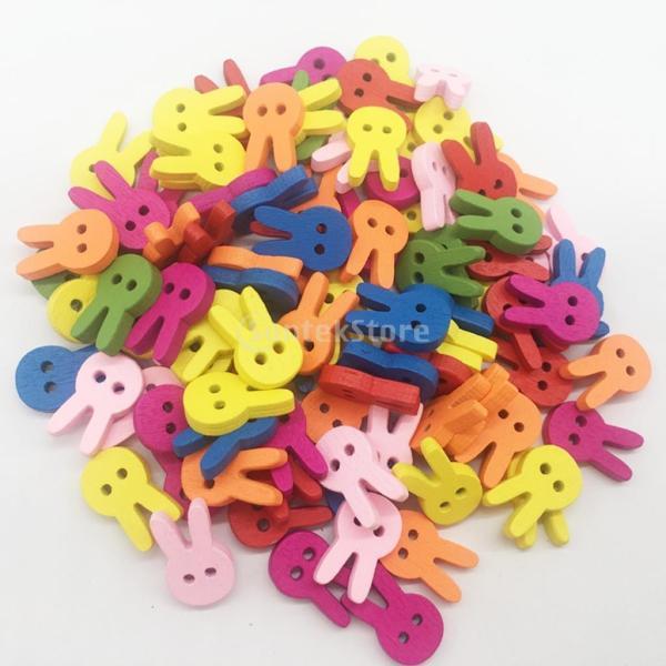 多色 ボタン 漫画のウサギ 2穴 木製 手芸用品 手作り 約100ピース