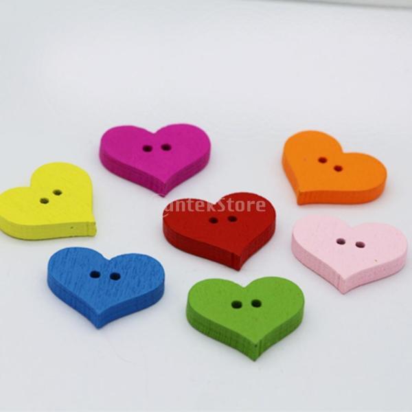 ボタン ハート型 2穴 木製 手芸用品 手作り 多色 約100ピース