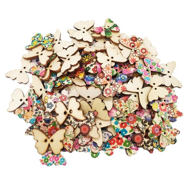 多色 ボタン 蝶 2穴 木製 21×27mm 手芸用品 手作り 約100個