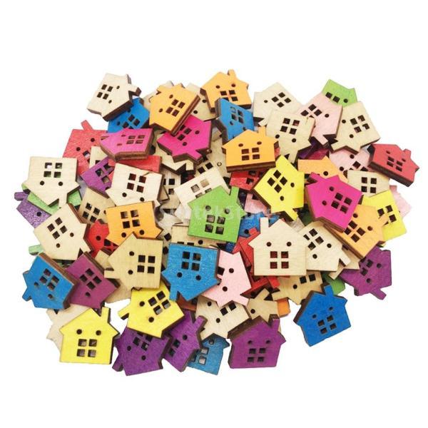 多色 ボタン 家の形 2穴 木製 手芸用品 手作り 約100ピース