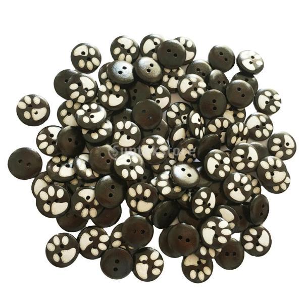 バックル ボタン 丸い 2穴 木製 手芸用品 手作り 衣類 15mm 約100ピース