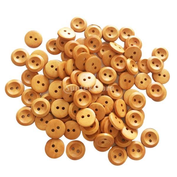 ナチュラルカラー ボタン 丸形 2穴 木製 手芸用品 手作り 約100ピース