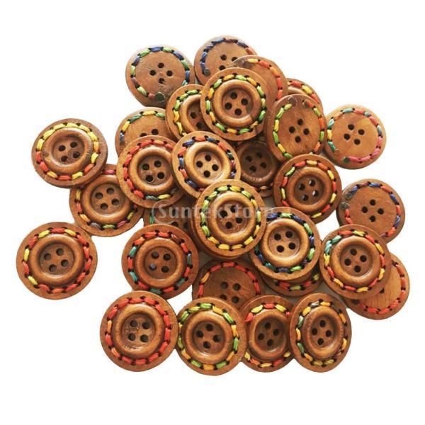 25mm ボタン 丸い 4穴 木製 手芸用品 手作り 約30個